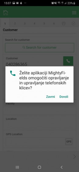 Access to calls from MightyFields platform