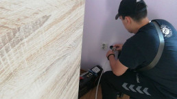 technician using digital application to collect data